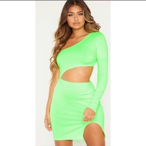 Neon Lime cut out bodycon dress